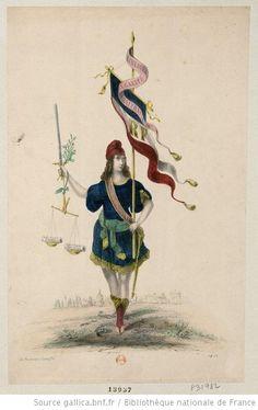 Une république symbolique en costume d'Opéra-Comique, d'une main tient une bannière tricolore, de l'autre une épée, un rameau d'olivier et u...