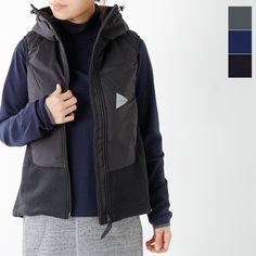 "e9a323dffa 【2016aw新作】and wander(アンドワンダー)ツイルフリースベスト""twill fleece vest"" aw-jt992-tr"