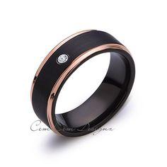 8mm,Mens,Diamond Band,Black Brushed,Rose Gold,Tungsten Ring,Rose Gold,Wedding Ring