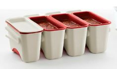 Lekue Portion Saver, Set of 4 by Lekue. $25.12. Detachable: containers can be used together or separately. This is more hygienic and takes less space. Attached lid seals hermetically: keeps your freezer clean and organized. Dishwasher and microwave save: made of polypropylene and TPE, which resists temperatures up to 194ºF (90ºC), (high enough for the dishwasher and the microwave in defrost mode). Dark red interior helps prevent discoloration and staining. Ideal for freezin...