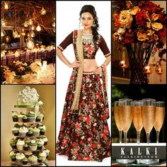 Earthy brown theme with dim lighting and wooden décor can be your theme for your natural rustic outdoor wedding. Dress in a floral lehenga in brown and be the ravishing young bride. You sure shouldn't forget the dessert and the champagne for the celebration! - See more at: http://www.kalkifashion.com/blogs/color-splashed-weddings/#sthash.arvwjUdN.dpuf