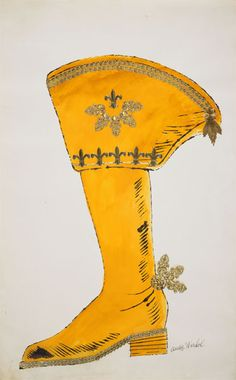 Boot - 1956 by Andy Warhol (American gouache, gold paper lace, ink. Andy Warhol Drawings, Warhol Paintings, Andy Warhol Pop Art, Pittsburgh, Andy Warhal, Pop Art Movement, Paper Lace, Gold Paper, Shoe Art