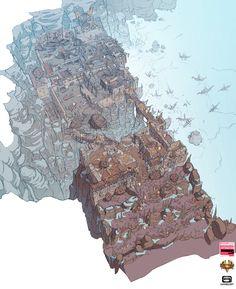 Dungeon Hunter 5 - Valen Outpost overview, Markus Lenz on ArtStation at… Fantasy Town, Fantasy Map, Fantasy House, Game Level Design, Game Design, Landscape Concept, Fantasy Landscape, Environment Concept Art, Environment Design