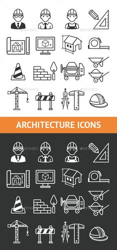 Architecture Construction Building Icon Set. Download here: http://graphicriver.net/item/architecture-construction-building-icon-set/15356911?ref=ksioks