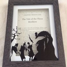 Harry Potter framed book cover and hand drawn Peverell