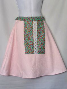 Baby Pink Full Skirt with Pretty floral insert 27 by HappyRagz