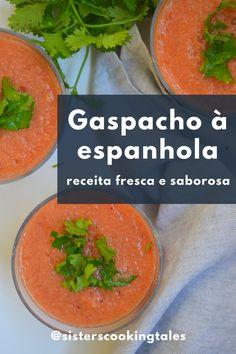 Receita de gaspacho | Receita de gazpacho | Receita de sopa de gaspacho | Gaspacho de tomates | Sopa fria | Receita de sopa fria | Receitas de sopas fáceis e saudáveis | Sopas e cremes | Sopas para emagrecer | Sopa de legumes |  Sopas Detox | Jantar e Almoço | Passo a Passo | Lanches e Marmitas | Dia a Dia | Low Carb | Receitas Ilustradas | Para Congelar | Como fazer sopa cremosa e saudável | Comida Vegana e Vegetariana | Receitas Portuguesas | Receitas de Cozinha | Cantaloupe, Detox, Fruit, Cooking, Food, Cooking Recipes, Desert Recipes, Veg Soup, Portuguese Recipes