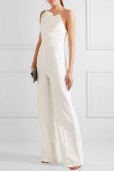 Bridal Jumpsuits Perfect for the Nontraditional Bride French Wedding Dress, Jumpsuits Uk, Wedding Pantsuit, Shower Outfits, Shower Dresses, Wedding Jumpsuit, One Shoulder Jumpsuit, Estilo Fashion, Roland Mouret