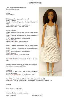 Barbie Clothes Patterns, Crochet Barbie Clothes, Doll Clothes Barbie, Barbie Dress, Clothing Patterns, Barbie Doll, Crochet Barbie Patterns, Knitted Doll Patterns, Crochet Doll Dress