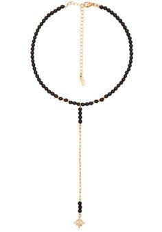 Ettika Beaded Drop Necklace in Onyx   REVOLVE