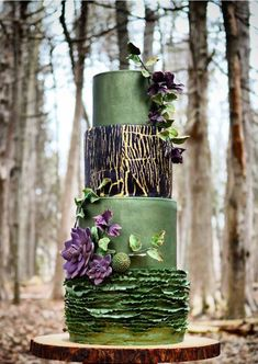 Gorgeous green with beautiful textures and a purple sugar bloom.