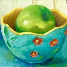 Pear in Teal Bowl by Joanna Olson