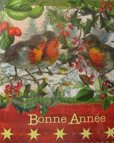 bonne annee happy new year vintage card
