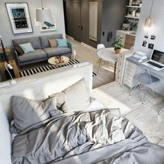 Kleines Zimmer 1001 ideas for one-room apartment set up small room set up double bed sofa double des Couples Apartment, One Room Apartment, Studio Apartment Layout, Studio Apartment Decorating, Apartment Interior, Apartment Ideas, Studio Layout, Studio Design, Small Apartment Layout