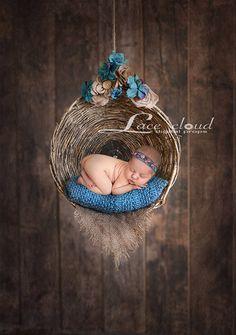Digital backdrop background prop newborn baby girl  turquoise burlap rustic brown basket swing / 90