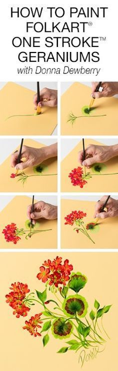 Learn how to paint FolkArt One Stroke Geraniums with Donna Dewberry