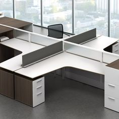 For open-plan applications, space-efficient shapes and storage-supported surfaces allow workstations to expand and contract as facilities needs change. Office Interior Design, Office Interiors, Global Office Furniture, Desk Layout, L Shaped Desk, Open Office, Commercial Design, Open Plan, Furniture Design