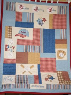 Custom Made Personalized Baseball Applique Baby Quilt. $180.00, via Etsy.