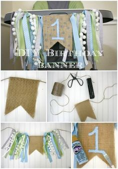 Easy tutorial for how to make a DIY birthday highchair banner. Perfect for birthday parties or smash cake photo sessions. Easy tutorial for how to make a DIY birthday highchair banner. Perfect for birthday parties or smash cake photo sessions. Diy Birthday Highchair Banner, 1st Birthday Banners, Baby Boy 1st Birthday, Birthday Diy, First Birthday Parties, Diy 1st Birthday Decorations, Birthday Chair, Farm Birthday, Birthday Invitations