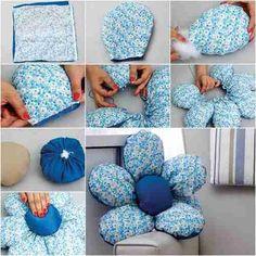 Cojín en forma de flor de 5 petalos, puedes hacer varios de diferentes tela estampada, quedaran genial en el sofá del salón o en tu dormitorio adornando la cama.