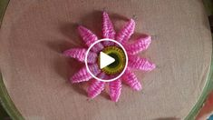 Hand embroidery beautiful mirror flower design and picot stitch work hello boys . Hand Embroidery Flower Designs, Hand Embroidery Videos, Hand Embroidery Tutorial, Learn Embroidery, Hand Embroidery Stitches, Embroidery Hoop Art, Embroidery For Beginners, Embroidery Techniques, Ribbon Embroidery