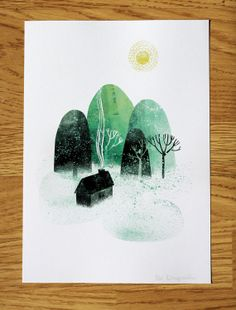 Home by the Mountains // A4 art print di essillustration su Etsy, £20.00