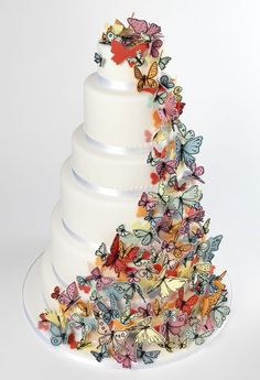 Stunning cascading #Butterflies #Wedding #Cake We totally love and had to share! Great #CakeDecorating!