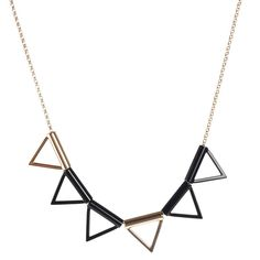 Six Triangle Necklace Black