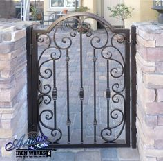 Ornamental Wrought Iron Courtyard Entry Gate Iron Front Door, Front Entry, Front Door Curtains, Courtyard Entry, Wrought Iron Doors, Entry Gates, Iron Work, Courtyards, Garden Gates