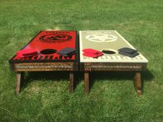 Cornhole - Custom US Army, US Marines Cornhole Set. With custom graphics  last name of recipient of the set. Made by Red 3 Productions