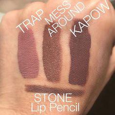 Colourpop Trap, Mess Around, Kapow and MAC Stone Lip Liner! Mac Stone Lip Liner, Kiss Makeup, Beauty Makeup, The Tomboys, Colour Pop, Make Up Your Mind, Makeup Dupes, Lip Pencil