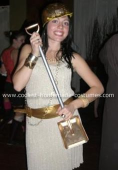 Gold Digger Costume: For Halloween I wore a Gold Digger costume, hence the gold costume and the construction worker hat and shovel. At the same time, I was trying to portray