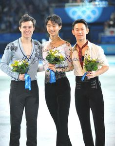 A trio of Olympic podium. Yuzuru Hanyu. Patrick Chan. Denis Ten.