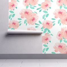 Watercolor Floral Wallpaper - Pink Peony by Indy Bloom Design  Our wallpapers are fully removable, perfect for renters, kids rooms, dorms, or an easy change in decor! Every Spoonflower wallpaper is PVC-free and printed using water-based, eco-friendly inks.  Once you place your order we will print the design on your choice of Smooth Water Activated wallpaper (removable) or Woven Peel and Stick wallpaper (removable and repositionable).  Our rolls are 24 inches wide and we offer a variety of…