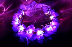 Purple Electric Flower LED Light Up Crown, Flower Headband