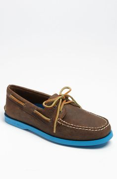 Sperry Top-Sider® 'Authentic Original 2-Eye' Boat Shoe brown leather with blue sole