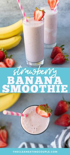 An Easy Strawberry Banana Smoothie Recipe that is loaded with protein and quick to make! Learn how to make the best yummy, healthy smoothie. Make it with milk, or keep it dairy free to stay vegan. Easy Healthy Smoothie Recipes, Easy Drink Recipes, Healthy Gluten Free Recipes, Healthy Breakfast Recipes, Snack Recipes, Juice Recipes, Healthy Eats, Vegetarian Recipes, Whole Foods Smoothies