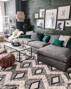 home accents living room Mix and match jewel tones with geo print accents to add interest to your living room look a la onclosetnine Living Room Accents, Living Room Green, Home Living Room, Living Room Furniture, Living Room Designs, Living Room Decor, Wooden Furniture, Antique Furniture, Media Room Decor