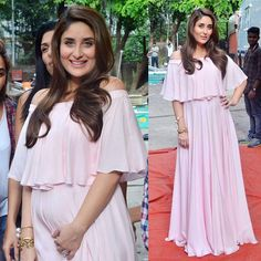 #KareenaKapoorKhan is glowing, showing off that #baby bump in this pale #pink…