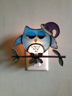 Stained Glass Sleepy Cutie Owl Night Light or Sun by CraftsbyTine