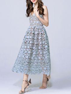 Blue Backless Crochet Hollow Out Dress -SheIn(Sheinside)