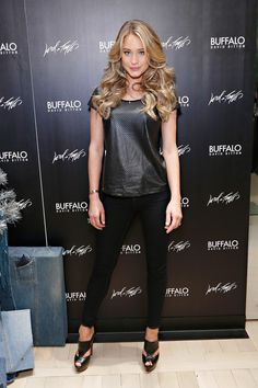 Hannah Davis attends as celebrity stylist Kate Young debuts her holiday installation for Buffalo David Bitton during the 'Guys Night Out' event at Lord & Taylor. http://aol.it/1u8r7dQ