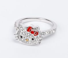 Hello Kitty Ring Enamel and Crystals: Red Bow