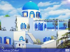 This luxury Santorini Villa is perfect to live a relaxing and full of comfort life. Found in TSR Category 'Sims 4 Residential Lots' Sims 4 Modern House, Sims 4 House Design, Sims 4 House Plans, Sims 4 House Building, Sims 4 Tsr, Sims Cc, Santorini House, Sims Videos, The Sims 4 Lots