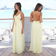 Brighten up your day with this pretty yellow maxi dress! Available now on our site! Shop at savedbythedress.com