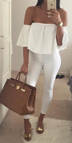 #fall #outfits ·  White Top // Skinny Jeans // Camel Leather Bag