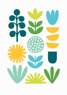 An x sized print featuring various colourful plant shapes. Professionally printed on uncoated stock. Posted in a plastic sleeve. Drawing Heart, Scandinavian Folk Art, Scandinavian Pattern, Plant Illustration, Flat Design Illustration, Motif Floral, Grafik Design, Print Patterns, Pattern Print