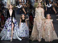 Elie Saab is een Libanees modeontwerper. Als detaillering gebruikt Saab onder andere pailletten, parels en diamanten. Wat zorgt voor de meest uitzinnige galajurken. Tijdens de show van Elie Saab, die zojuist is getoond in Parijs, liepen sommige modellen met een mini-versie in dezelfde fabuleuze jurk over de catwalk. Te lief!