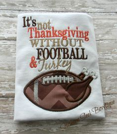 Boys Thanksgiving Shirt Turkey Football Embroidered Shirt or Onesie Brown Orange