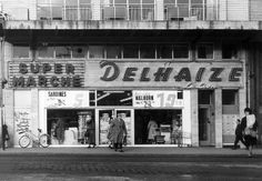 The first Belgian supermarket Delhaize on Place Flagey - 18 December Living In Europe, Brussels Belgium, European Travel, Vintage Pictures, Picture Wall, The Good Place, Bing Images, Dubai, American